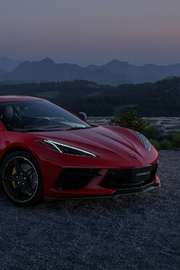 640x1136 Red Chevrolet Corvette 4k 2021