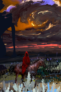 Red Coat Horse Field Landscape Fantasy Art 8k