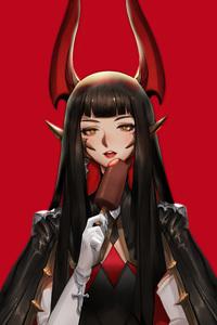Red Demon Anime Girl 5k