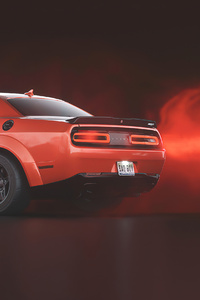 1080x2280 Red Dodge Challenger Demon SRT Rear