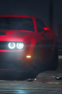 640x1136 Red Dodge Challenger Srt 4k