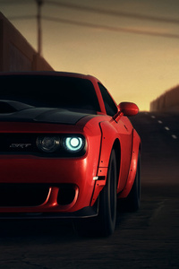 Red Dodge Challenger Srt 8k