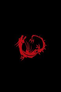 Red Dragon Black Minimal 4k
