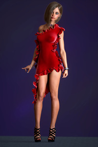 Red Dress Girl 3D Cgi 4k