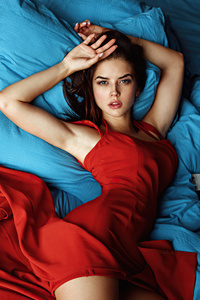 1440x2560 Red Dress Girl Lying On Bed 4k