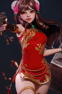 1440x2560 Red Dress Girl With Gun 4k