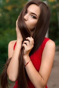 750x1334 Red Dress Gorgeous Girl Hairs On Face 4k