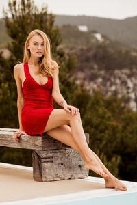 Red Dress Model Outdoor