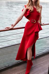 Red Dress Model Posing