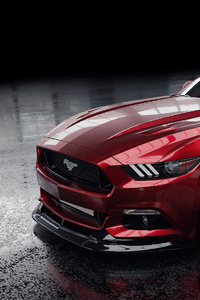 480x800 Red Ford Mustang 4k