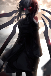 320x568 Red Glowing Eyes Anime Girl 5k