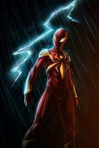 640x1136 Red Gold Spiderman Suit