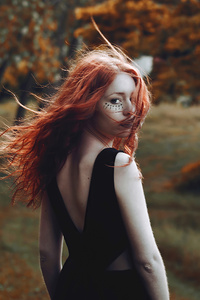 540x960 Red Hair Girl Hair In Air 4k
