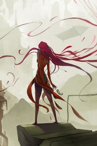 720x1280 Red Hairs Long Fictional Digital Art Bordeaux