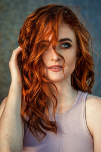 320x480 Red Head Beautiful Girl 4k