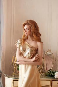1440x2560 Red Head Girl Golden Dress 4k