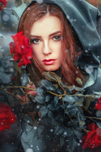 Red Head Girl Red Flowers 4k