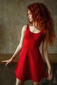 1440x2560 Red Head Girl Wavy Hair