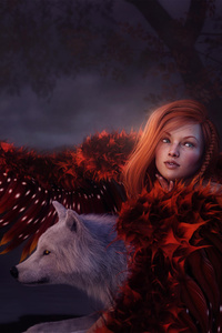 Red Head Girl With Wolf