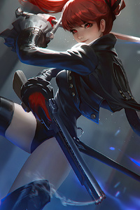 1280x2120 Red Head Sword Girl