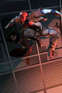 750x1334 Red Hood And Robin Cleaning The Crime In City