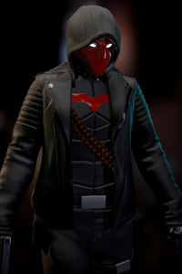 Red Hood Glowing Eyes 4k