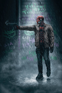 640x960 Red Hood Shotting In Rain 4k