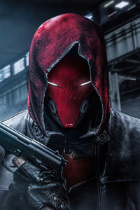 640x960 Red Hood With Gun In Hand 4k