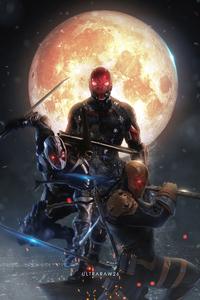 1280x2120 Red Hood X Deadpool X Deathstroke 4k