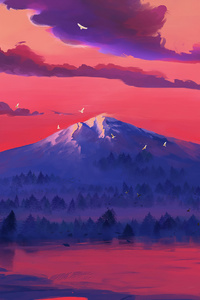 720x1280 Red Lake Mountains Minimal 4k