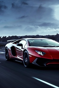 Red Lamborghini Aventador Moon Night