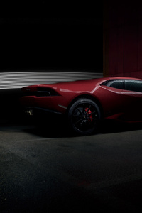 Red Lamborghini Huracan Rear 4k