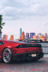 480x854 Red Lamborghini Huracan Supercar Vehicle