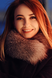1440x2960 Red Long Hair Girl Winter Coat Smiling 4k