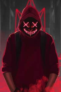 240x320 Red Mask Neon Eyes 4k