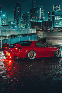 1080x1920 Red Mazda Rx7 On Streets K4