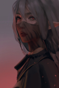 540x960 Red Moon Anime Girl Face Covered