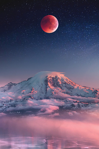 1280x2120 Red Moon Landscape