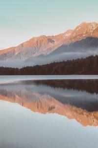 Red Mountains Fog Reflection Lake 4k