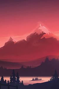 1242x2688 Red Mountains Morning Minimal 4k