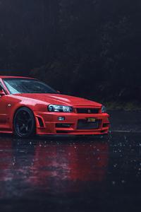 1080x1920 Red Nissan GTR R34