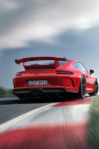 1125x2436 Red Porsche 4k Rear