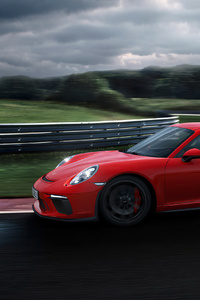 1125x2436 Red Porsche 918 Side View