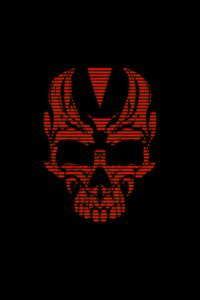 320x480 Red Skull Black 4k