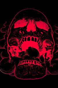 480x854 Red Skull Flowers Black Background 4k