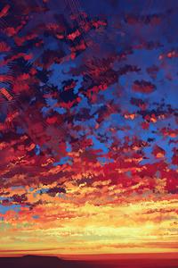 480x800 Red Sky Autumn 4k