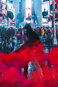 Red Smoke Spray Guy 4k