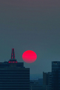 720x1280 Red Star Buildings Sunrise 4k