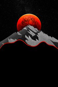 1242x2688 Red Sun Between Mountains Minimal 5k