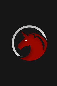 480x800 Red Unicorn Logo 4k